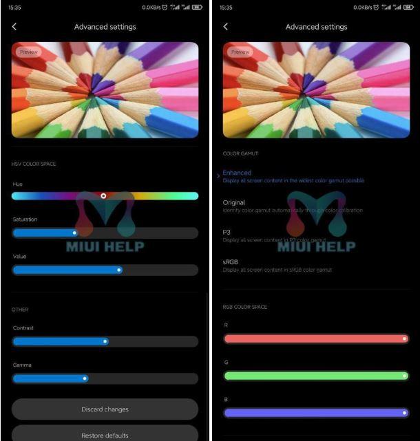 colores en miui 11.1