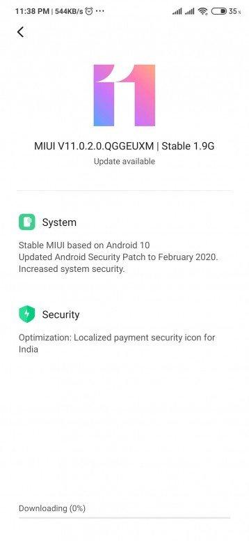update redmi note 8 pro