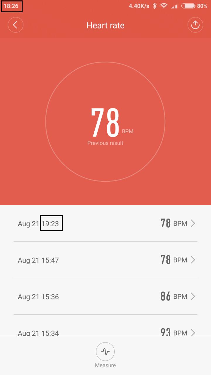 El tiempo de frecuencia cardíaca en la aplicación Mi fit siempre es una hora después del tiempo real ...