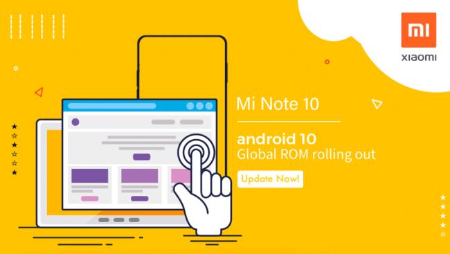 Mi Note 10 Actualización global de Android 10
