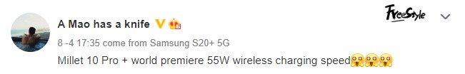Carga inalámbrica Xiaomi Mi 10 Pro + 55W