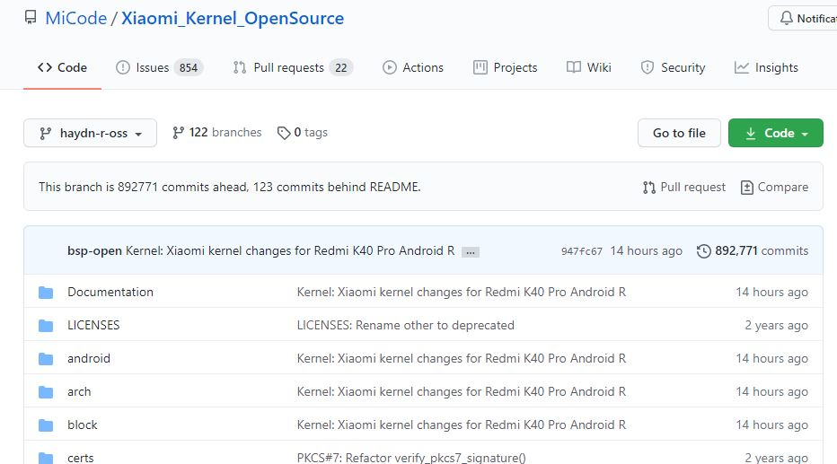 kernel del redmi k40 pro