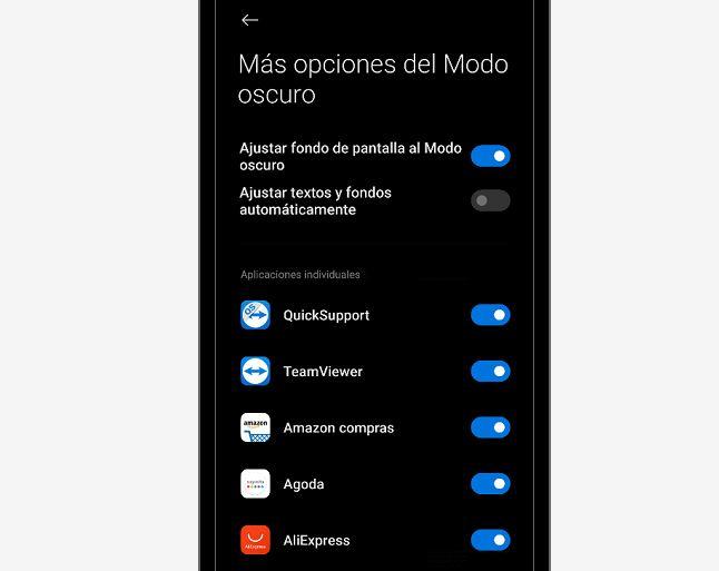 desactivar apps en modo oscuro