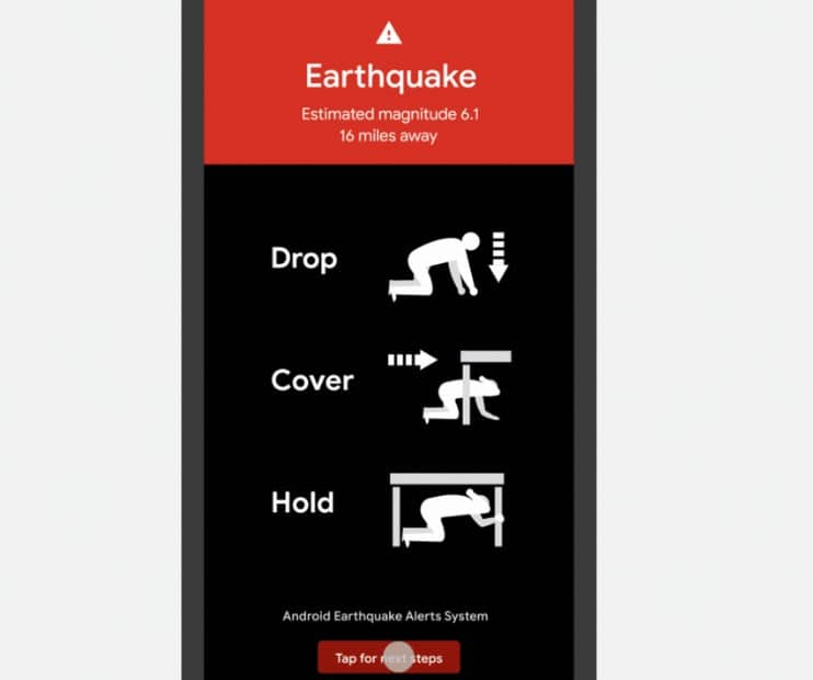 función de terremotos de xiaomi y android