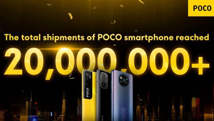 poco 20 millones de teléfonos inteligentes vendidos
