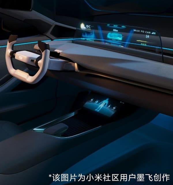 interior del coche electrico de xiaomi
